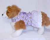 "Dog Harness Vest Dress Combination Size Small 14"" Chest Lavender Daisy Ready To Ship"