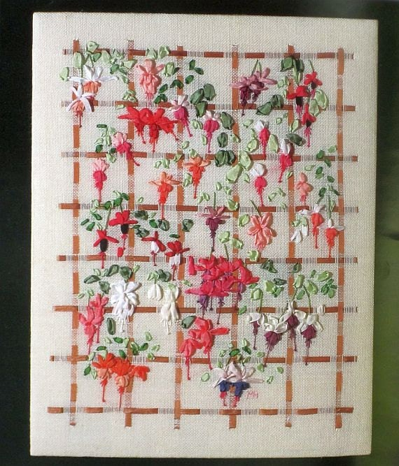 Fuchsias silk ribbon embroidery sampler series merrilyn
