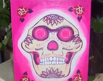 EVOLUTION Original Painting Canvas Lucy : pink, purple, red, and white Dia de los Muertos (Day of the Dead) Australopithicus afarensis skull