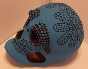 Perfect Gift for Halloween or Dia de los Muertos (Day of the Dead): paper mache skulls