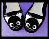 Sz 7 Black White Cat Mary Jane Shoes - Size 7 Kawaii kitty Animal
