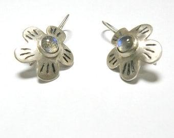 Labradorite Earrings, Sterling Silver Earrings Labradorite Jewelry, Gift For Girlfriend Silver Flower Earrings, Gemstone Earrings