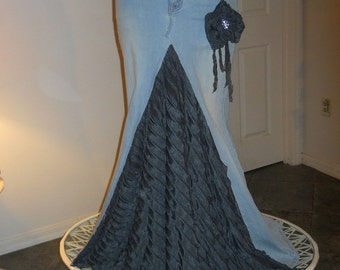 Belle Époque jean skirt dark grey ruffled silk ultra femme bohemian beach goddess mermaid Renaissance Denim Couture
