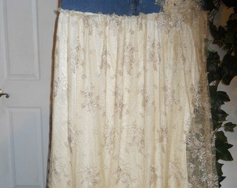 Vintage French lace jean skirt Belle Demoiselle bohemian fairy goddess Renaissance Denim Couture Made to Order