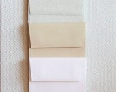 A2 Square Flap Card Envelopes . Gray Grey Marble Vellum Parchtone . Kraft Speckletone Natural and Bright White . Collection Set of 10