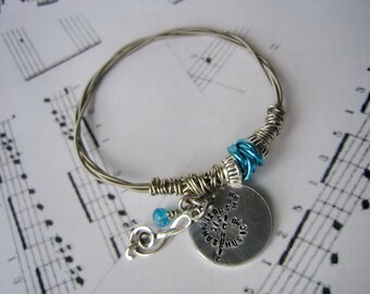 Guitar String Bracelet with Hand Stamped Disc - Treble Clef Charm with Aqua Glass Bead Music Lover Bracelet - Guitar Jewelry - string bangle