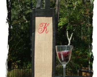 Personalized Single Wine Tote w/Initial - Font of your Choice