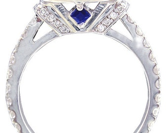 14k white gold round cut diamond engagement ring art deco style halo 2.20ctw