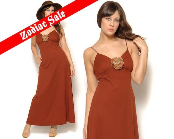 RESERVED 70s Maxi Dress Rust Spaghetti Strap Flower Corsage Sleeveless Tank Dress 1970s Boho Prom Empire Waist Dress / Size S M Small Medium