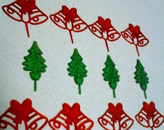 Mid-century holiday cupcake or cake toppers