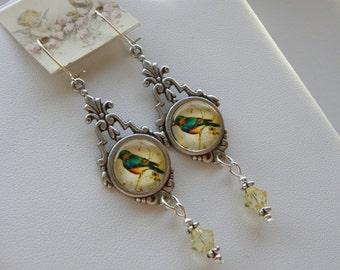 Blue Bird of Happiness Earrings, Bird Earrings, Birds