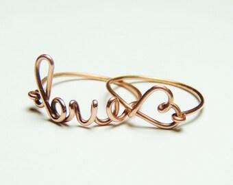 copper wire love and heart ring-  love script ring- Special price -  copper wire ring love and heart keoops8 shop