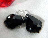 Sterling Silver large black swarovski baroque earrings