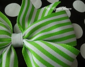 Lime Green and White Stripes Large Pinwheel Bow