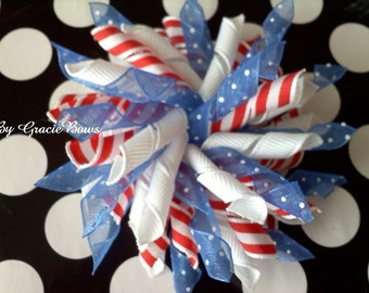 Korker Hair Bow- Red, White, and Blue Polka Dots and Stripes