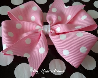 Light Pink and White Dots Large Pinwheel Bow