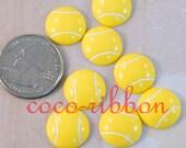 15mm 12/24/50pcs Yellow Tennis Ball Sport Ball Cheer Flatback Resin Cabochons