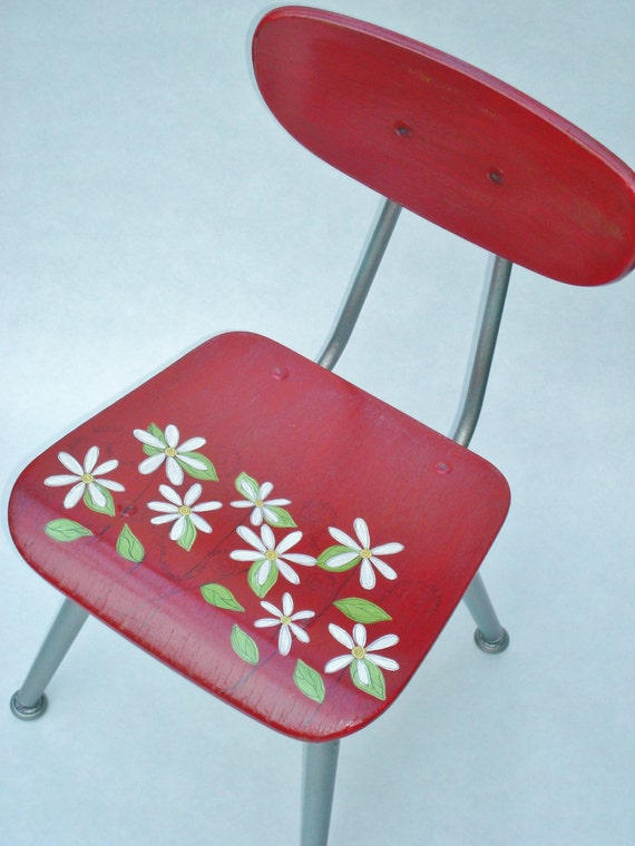 Recycled Hand Painted Child's Chair-Daisy Girl-Sale