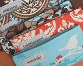 SIX Designer Cash Fabric Envelopes with VELCRO