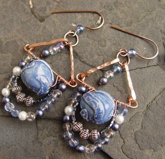 Blue Blazes - Handmade Porcelain Focal Gypsy Dangle Earrings Bohemian Tribal Swags Crescents