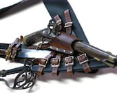3 Inch Black with Brown Leather Pirate Pistol and Sword Baldric with Dagger Frog