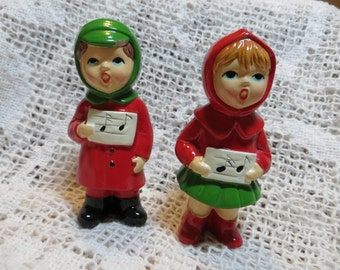Ceramic Carolers From Japan Boy and Girl Holiday