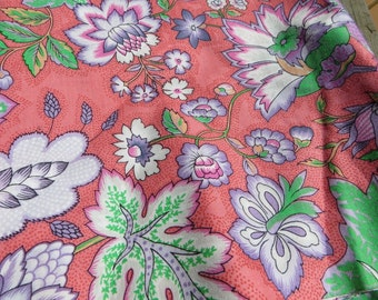 1 Yard Pretty Floral Cotton Fabric by Tony Wengel Pink, Purple and Green