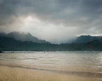 Beach Photography Landscape, Hanalei Bay Hawaii, Dramatic Seascape, Ocean Landscape Photograph, Nautical Decor,  Beach Photograph