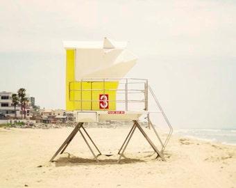 "Yellow Beach Decor, Beach Photography, San Diego California, Pastel Yellow Lifeguard Tower, Yellow Beach House, ""Yellow Tower #3"""
