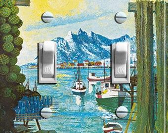 NORWAY Painting Vintage Travel Poster Switch Plate (single or double)  ***FREE SHIPPING***