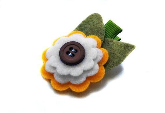 Sunflower felt flower hair clip, baby hair clip, girl hair clip