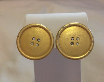 Gold Button Post Earrings by Carolee