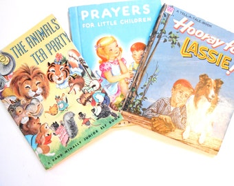 Three Little Children's Book,  Lassie, The Animals' Tea Party, Prayers For Little Children