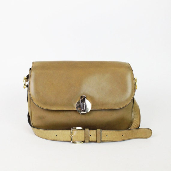 Italian leather satchel / camel brown Peruzzi accordion purse