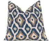 Decorative Throw Pillow Covers 18 x 18 Navy Taupe Aqua on Linen Cushion Sofa Pillows Adrian by Premier Prints
