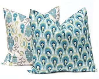 Decorative Throw Pillow Covers Pair of Two 18 x 18 Accent Pillow Throw Pillow Cushion Covers Frost Birch Ikat Burlap Pillow