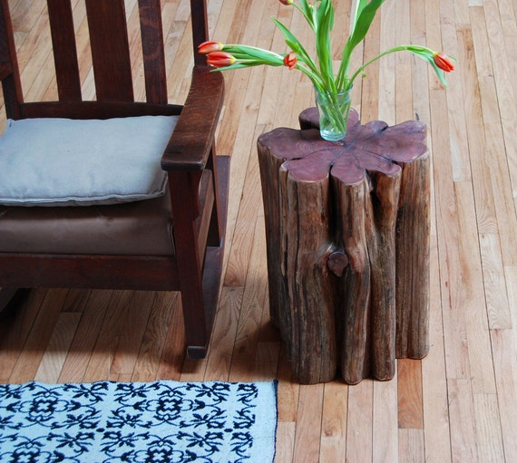 Coffee Table Made Out Of Tree: Rustic Cedar Side Table Tree Stump Stool By Grayworksdesign
