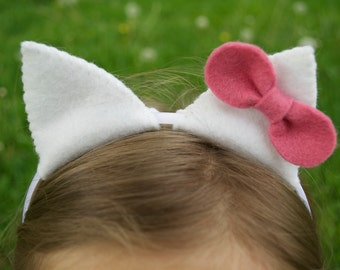 White Wool Felt Cat Ears with Bow