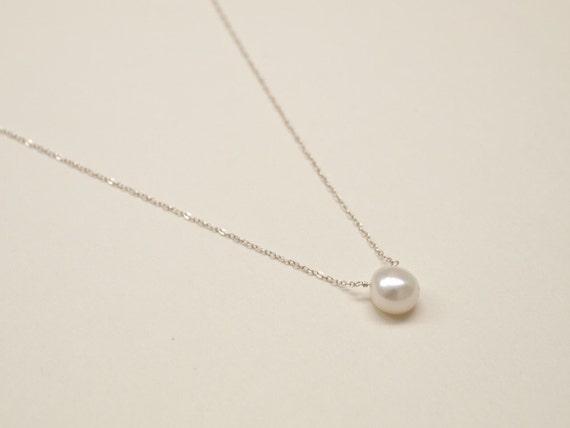 Pearl Pendant - Sterling Silver, Pendant, Pearl Necklace, Pearl Pendant, White Pearl, Silver Chain, White Pearls Pendant, Wedding