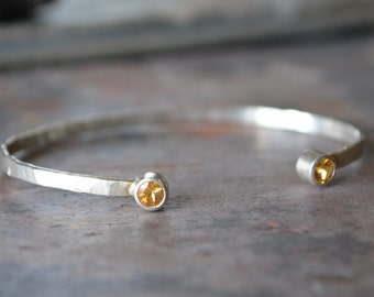 Citrine Cuff Bracelet Sterling Silver Hammered Textured