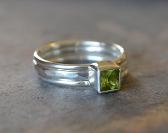 Princess Cut Peridot Ring Stack Set Sterling Silver Three Ring Stack Set Statement Ring