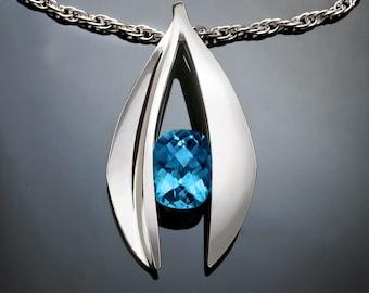 Swiss blue topaz pendant necklace, statement necklace, Argentium silver, gemstone jewelry, tension set, luxury gift, artisan jewelry - 3495