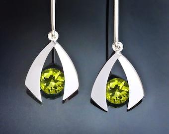 peridot earrings, dangle earrings, drop earrings, August birthstone, argentium silver jewelry, eco-friendly, modern earrings - 2424