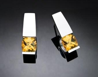citrine earrings, November birthstone, citrine jewelry, silver earrings, wedding jewelry, eco-friendly, yellow gemstone, fine jewelry - 2431