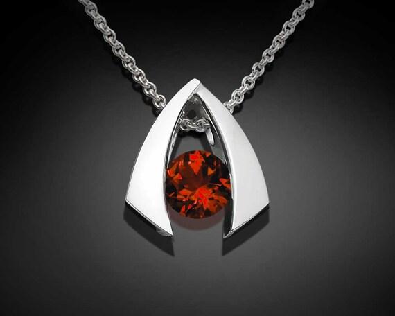 garnet necklace, garnet pendant, January birthstone, Mozambique garnet, red necklace, eco-friendly silver, modern jewelry - 3424