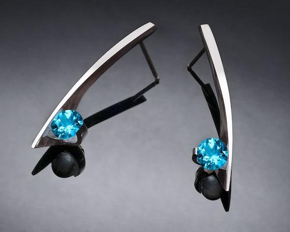 Swiss blue topaz earrings, blue topaz earrings, Argentium silver earrings, December birthstone, wedding earrings, artisan earrings - 2458