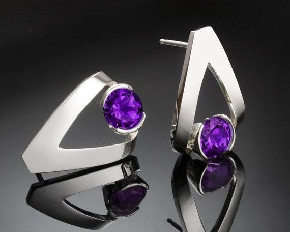 amethyst earrings, Argentium silver, February birthstone, purple gemstone, artisan earrings, gemstone jewelry, tension set, for her - 2470