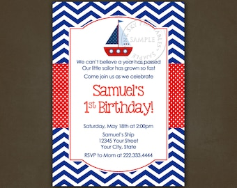 Sailboat Nautical Birthday Party invitation - Printable File, Personalized