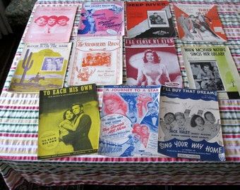 Sheet Music Lot 3  Eleven Vintage Songs Very Good Condition Movies Carmen Miranda Olivia de Haviland Western
