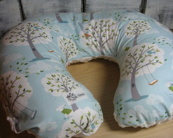 Nursing Pillow Cover, Baby Boy, Backyard baby Windy Trees Boppy Cover,White Minky